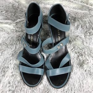 EUC✨CHARLES JOURDAN Blue Leather Sandals 7…